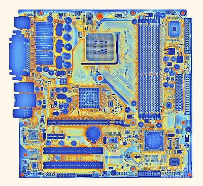 Computer Motherboard, Coloured X-ray Print by Alfred Pasieka
