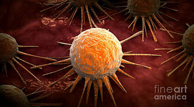 Conceptual Image Of Cancer Virus Print by Stocktrek Images