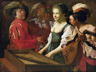 Concert, 1626 Oil On Canvas Print by Hendrick Ter Brugghen