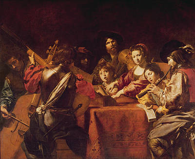 Concert With Eight People Oil On Canvas Print by Valentin de Boulogne