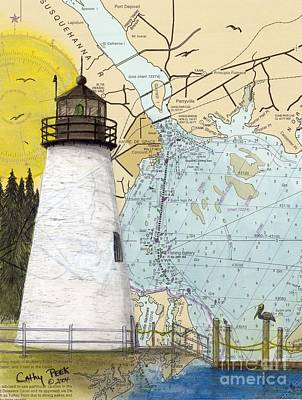 Concord Pt Lighthouse Md Nautical Chart Map Art Cathy Peek Print by Cathy Peek