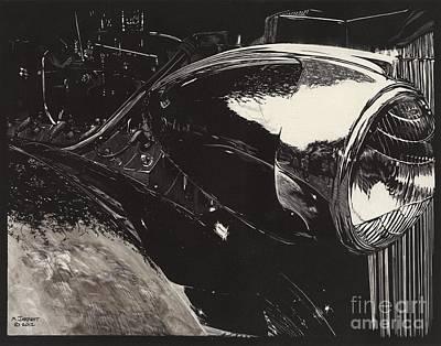 Scratchboard Drawing - Concours 1936 Packard 12 by Matthew Jarrett