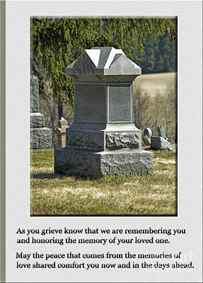 By Govan Vertical Format Photograph - Condolence Photo Greeting Card by Andrew Govan Dantzler