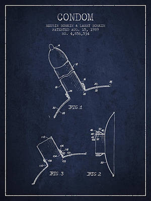 Condom Drawing - Condom Patent From 1989 - Navy Blue by Aged Pixel
