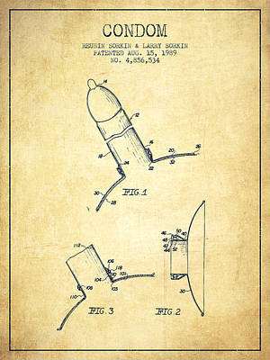 Condom Drawing - Condom Patent From 1989 - Vintage by Aged Pixel