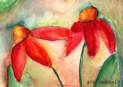 Abstracted Coneflowers Painting - Coneflowers II by Heidi Lumpkin