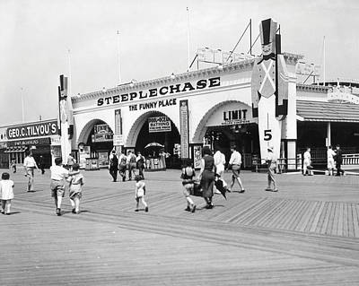 B Photograph - Coney Island - Steeplechase Park And Boardwalk by MMG Archives