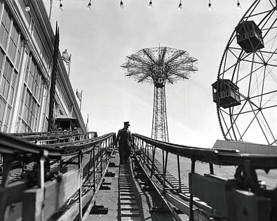 Roller Coaster Photograph - Coney Island - Roller Coaster And Parachute Jump by MMG Archives