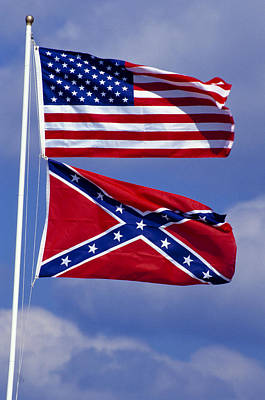 Confederate And U.s. Flags. Print by Anonymous