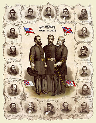 Confederate Generals And Flags Print by Daniel Hagerman
