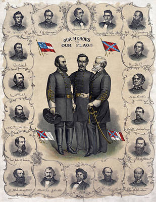 Stonewall Painting - Confederate Leaders, C1896 by Granger