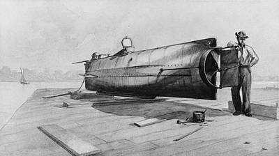 Confederate Submarine H. L. Hunley Print by Us Navy