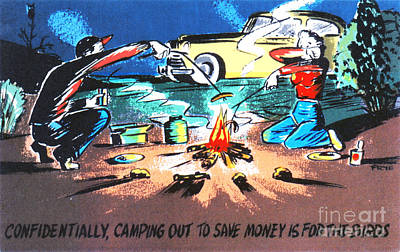 Family Car Drawing - Confidentially Camping Out To Save Money Is For The Birds by Eldon Frye