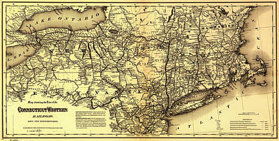 Connecticut And Western Railroad Map 1871 Print by Mountain Dreams