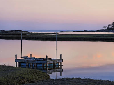 Connecticut Backwaters Sunset With Dock Series 4 Print by Marianne Campolongo