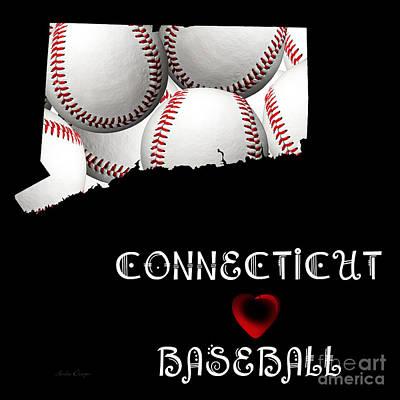 Baseball Digital Art - Connecticut Loves Baseball by Andee Design