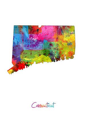 Connecticut Digital Art - Connecticut Map by Michael Tompsett