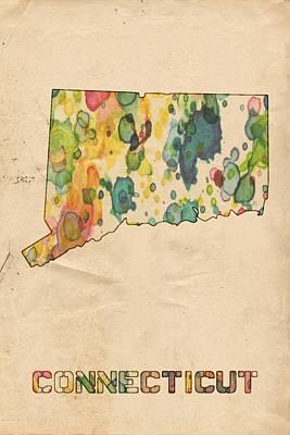 Watercolor Map Painting - Connecticut Map Vintage Watercolor by Florian Rodarte