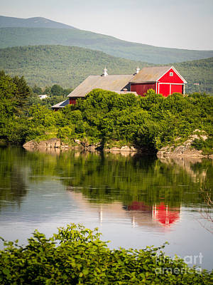 Red Barn. New England Photograph - Connecticut River Farm by Edward Fielding