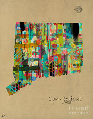 Maps Painting - Connecticut State Map by Bri B