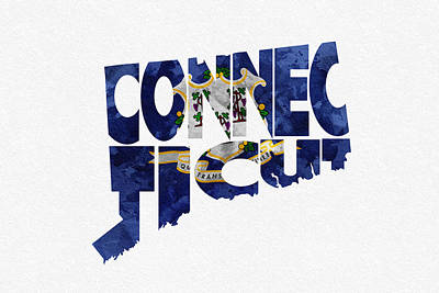 Connecticut Typographic Map Flag Print by Ayse Deniz
