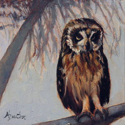 Heather Burton Painting - Connie's Owl by Heather Burton