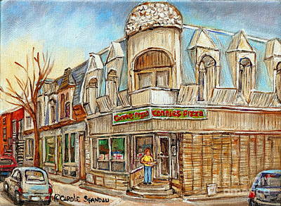Connie's Pizza Montreal Paintings Autumn Scene Pointe St Charles Original Cityscapes Carole Spandau  Print by Carole Spandau