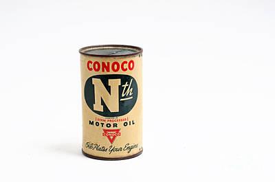 Conoco Motor Oil Piggy Bank - Antique - Tin Print by Andee Design