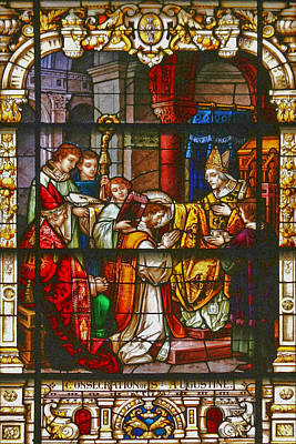 Jesus Photograph - Consecration Of St Augustine Stained Glass Window by Christine Till