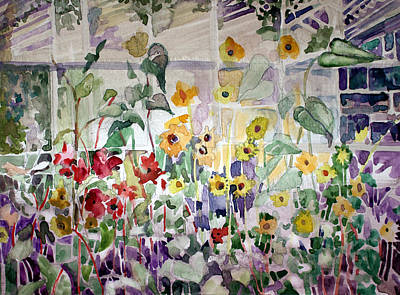 Conservatory Sunflowers Print by Mindy Newman