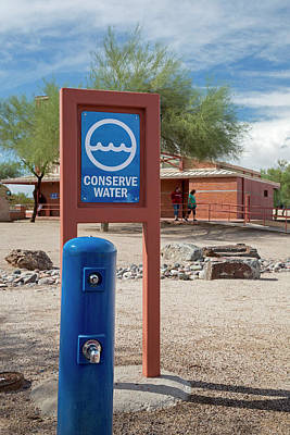 Rimrock Photograph - Conserve Water Sign by Jim West