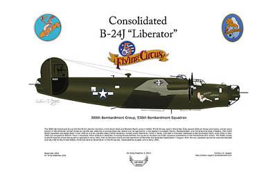 Consoldated B-24j Liberator Print by Arthur Eggers