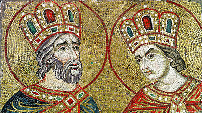 Constantine The Great 270-337 And St. Helena Mosaic Print by Veneto-Byzantine School