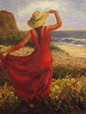 Woman In Red Dress Painting - Constanza  by Claiborne Hemphill-Trinklein