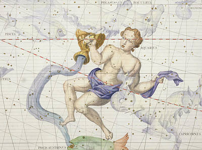 Constellation Of Aquarius Print by Sir James Thornhill