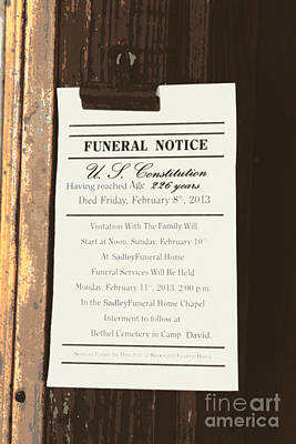 Constitution Death Notice Print by Joe Jake Pratt