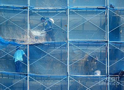 Construction Workers  High Up On Scaffolding Print by Yali Shi