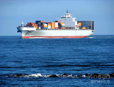 Water Vessels Photograph - Container Ship by Olivier Le Queinec