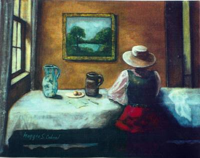 Table Cloth Painting - Contemplation by Maggie  Cabral