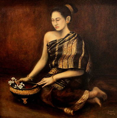 Lao Painting - Contemplation by Sompaseuth Chounlamany