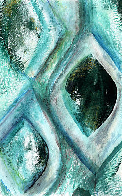 Contemporary Abstract- Teal Drops Print by Linda Woods