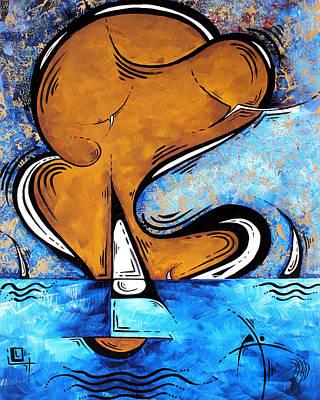 Sea Birds Painting - Contemporary Coastal Nautical Pop Art Original Sailboat Painting Sailing Beyond By Madart by Megan Duncanson