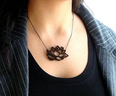 Contemporary Lotus Flower Necklace Original by Rony Bank