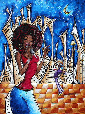 African-american Painting - Contemporary New Orleans Jazz Blues Original Painting Singin In The Streets by Megan Duncanson