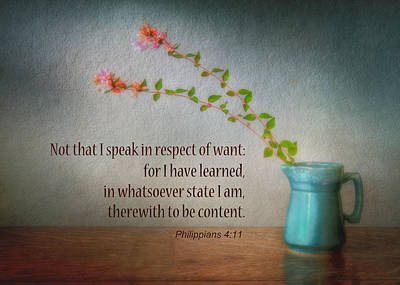 Bible Verse Photograph - Contentment by David and Carol Kelly