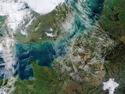 Satellite Image Photograph - Contrails Over The English Channel by Jacques Descloitres, Modis Rapid Response Team, Nasa/gsfc