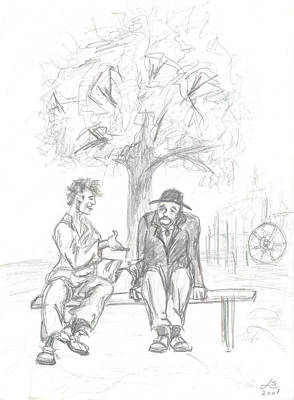 Yak Drawing - Conversation by Levon Saryan