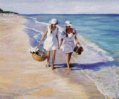 Hats Painting - Conversation On The Beach by Susan Kuznitsky