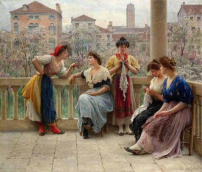 Conversation On The Terrace. Venice Print by Eugene de Blaas