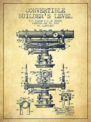 Old Blueprint Digital Art - Convertible Builders Level Patent From 1922 -  Vintage by Aged Pixel
